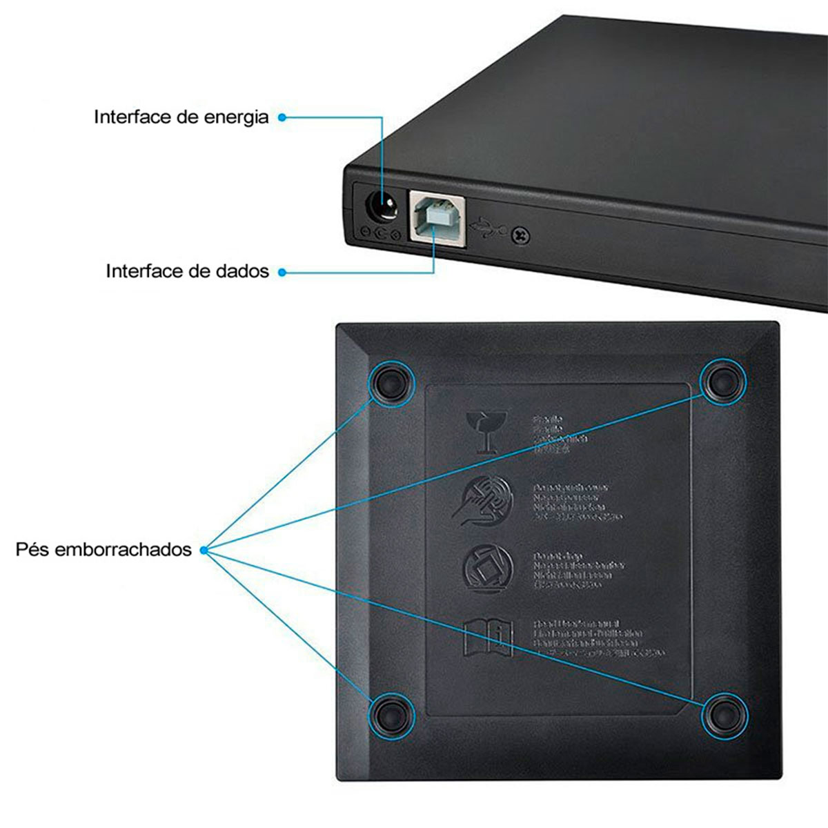 Gravador e Leitor de CD/DVD Externo Bluecase BGDE-02, Slim, USB 2.0, Preto