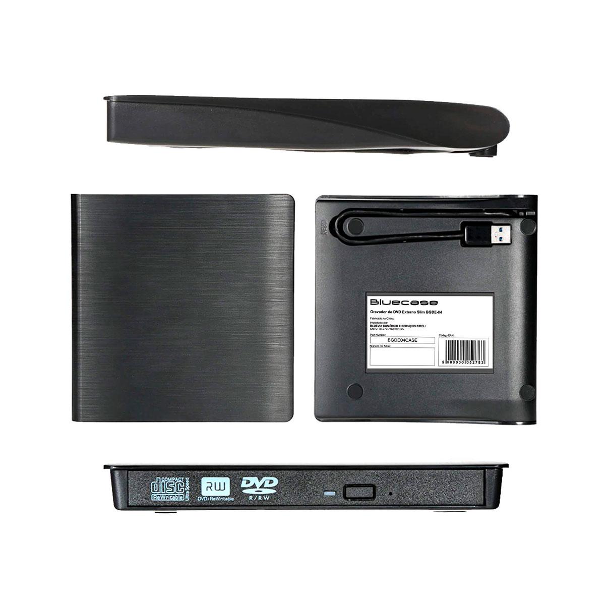 Gravador e Leitor de CD/DVD Externo Bluecase BGDE-04, Slim, USB 3.0, Preto
