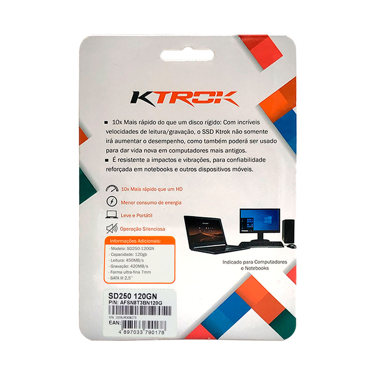 "HD SSD 120GB KTROK SD250-120GN, Leitura 450MB/s, Gravação 420 MB/s, 7mm, Sata III 2,5"""