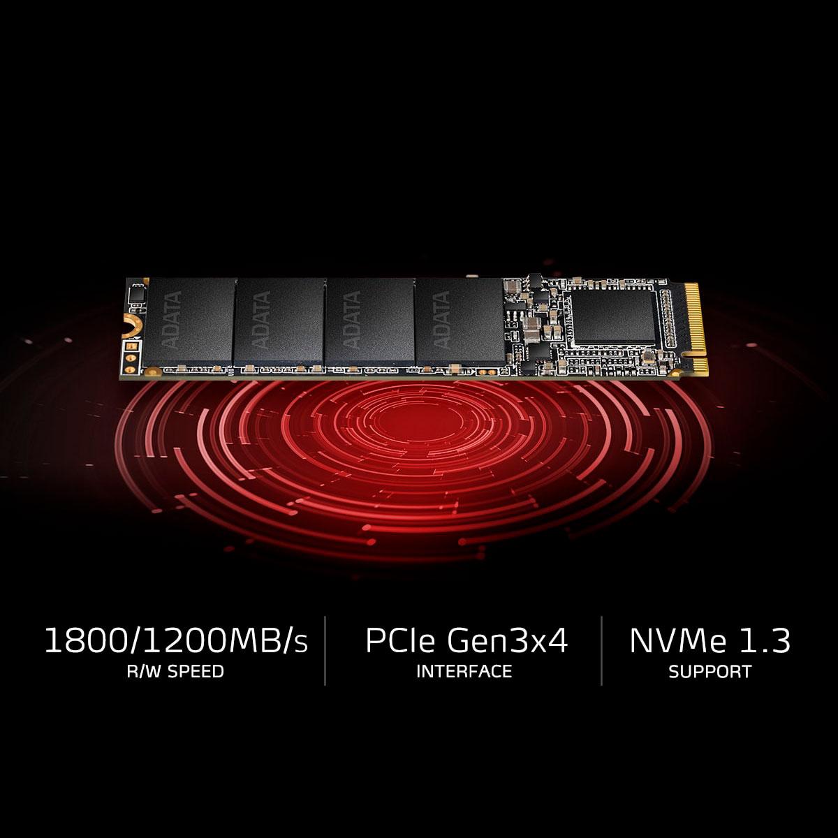 HD SSD 1TB ADATA XPG SX6000 Lite M.2 2280, PCIe, Leitura 1800MB/s, Grav. 1200MB/s ASX6000LNP-1TT-C