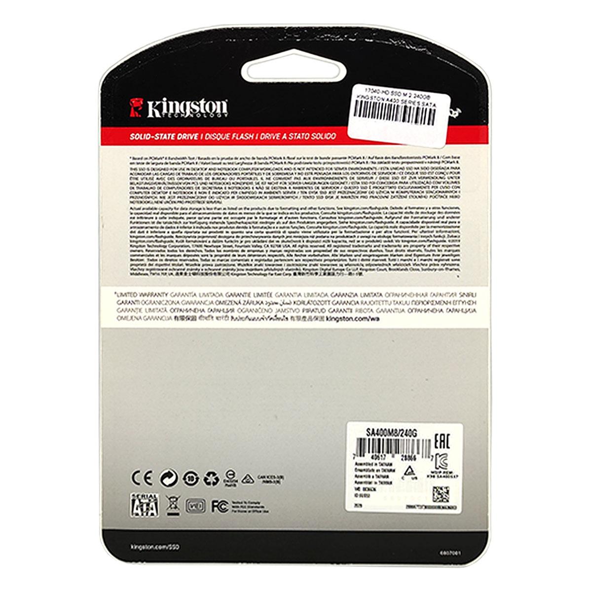 HD SSD 240GB Kingston A400 M.2 2280, Leitura 500 MB/s, Gravação 350 MB/s - SA400M8/240G