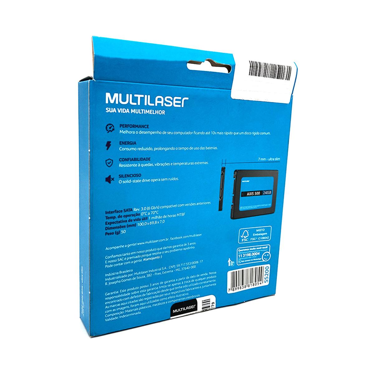 "HD SSD 240GB Multilaser Axis 500 SS200, Leitura 500MB/s, Gravação 500MB/s, 2,5"", SATA III 6 GB/s"