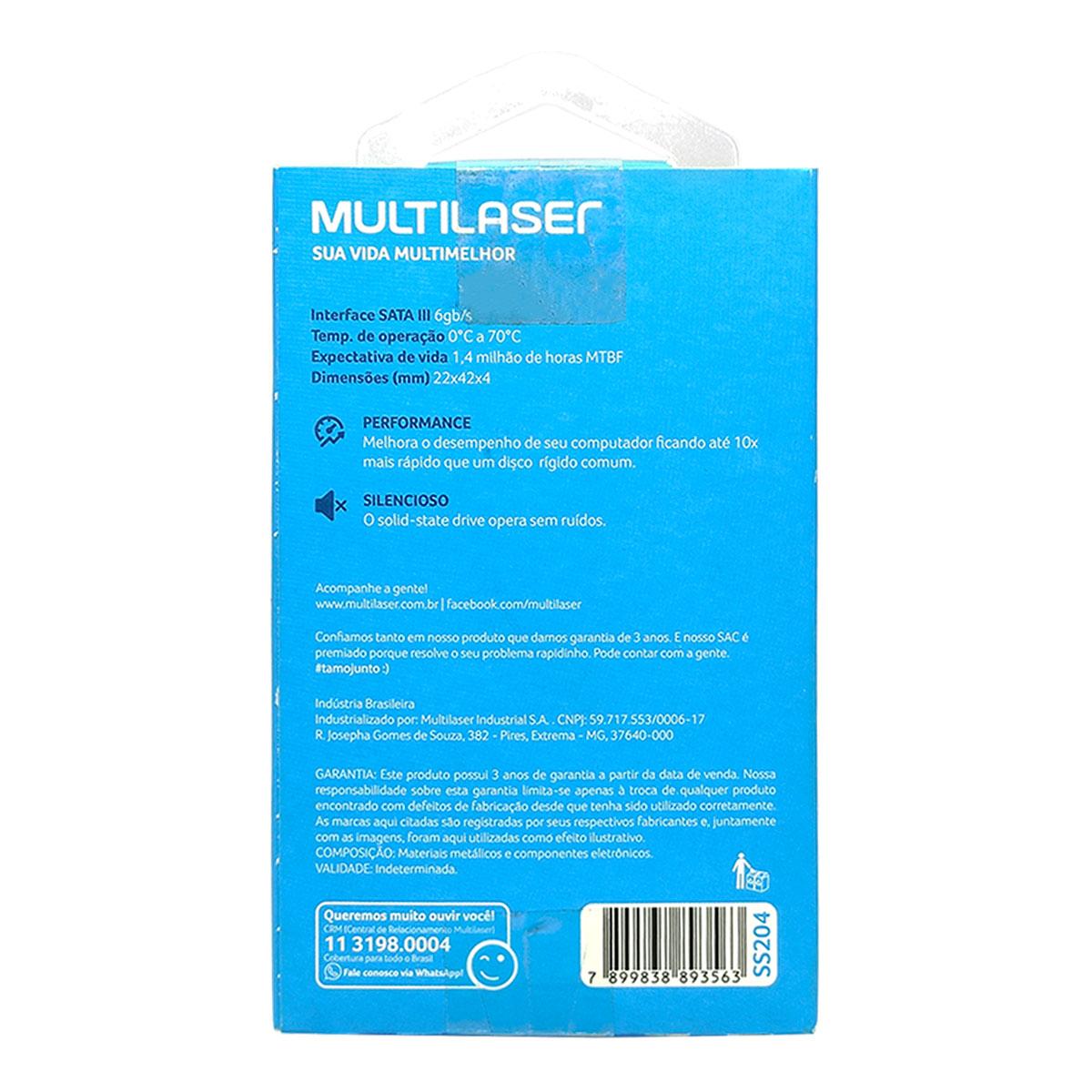HD SSD 240GB Multilaser Axis 500 SS204, Leitura 500MB/s, Gravação 450MB/s, M.2 2242, SATA III 6 GB/s