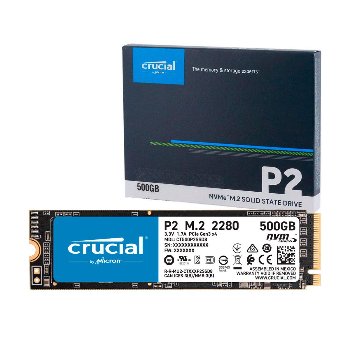 HD SSD 500GB Crucial P2, M.2 2280 NVMe, Leitura 2300 MB/s, Gravação 940 MB/s - CT500P2SSD8