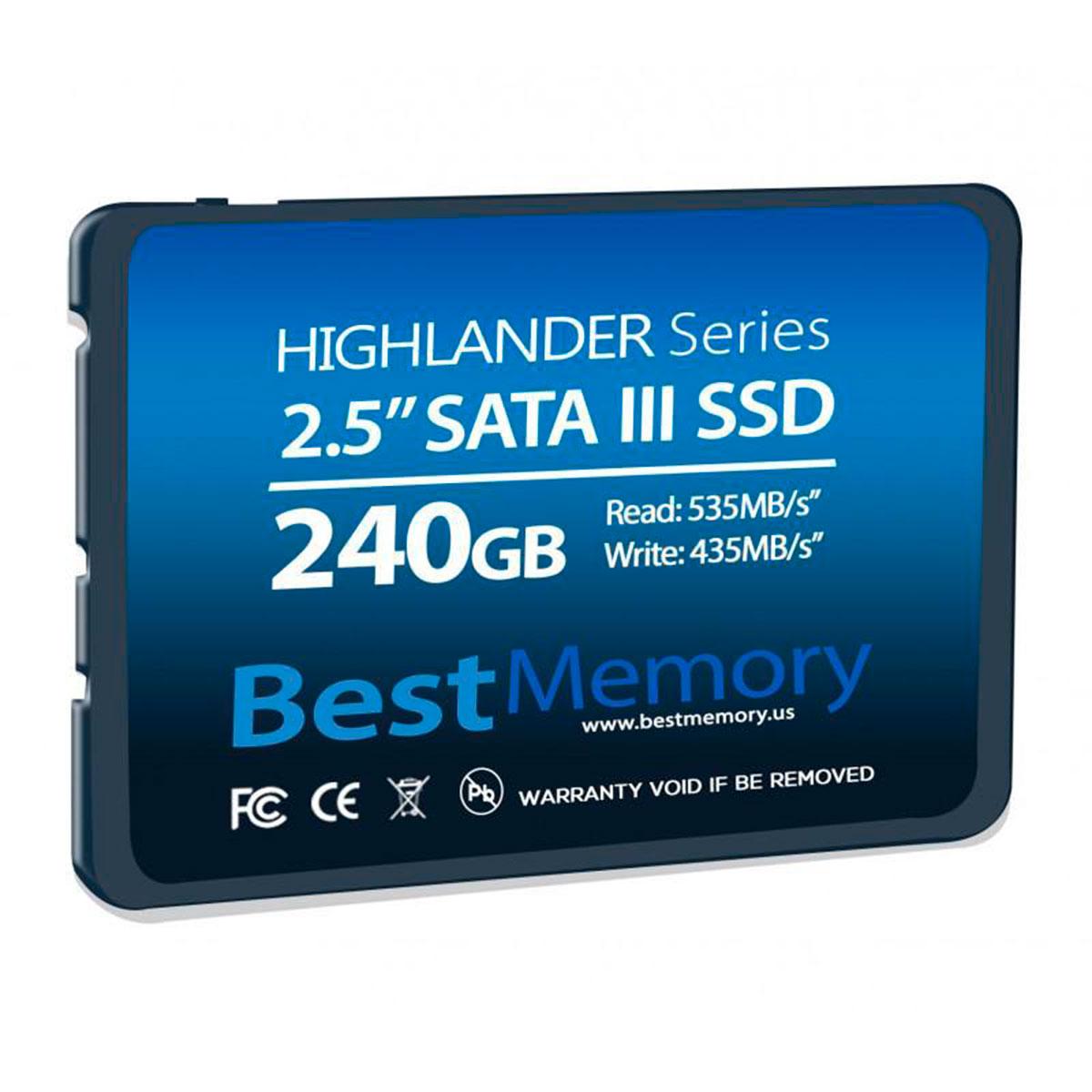 """HD SSD Best Memory Highlander 240GB Sata III 2.5"""" Leitura 535 MB/s, Grav.435 MB/s - BTSDA-240G-535"""