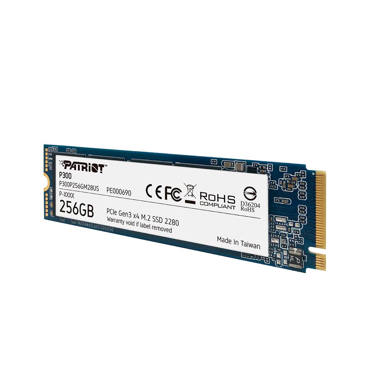HD SSD M.2 2280 Patriot P300 256GB PCIe Gen3 x4 NVMe 1.3 Leitura 1700 MB/s, Gravação 1100 MB/s