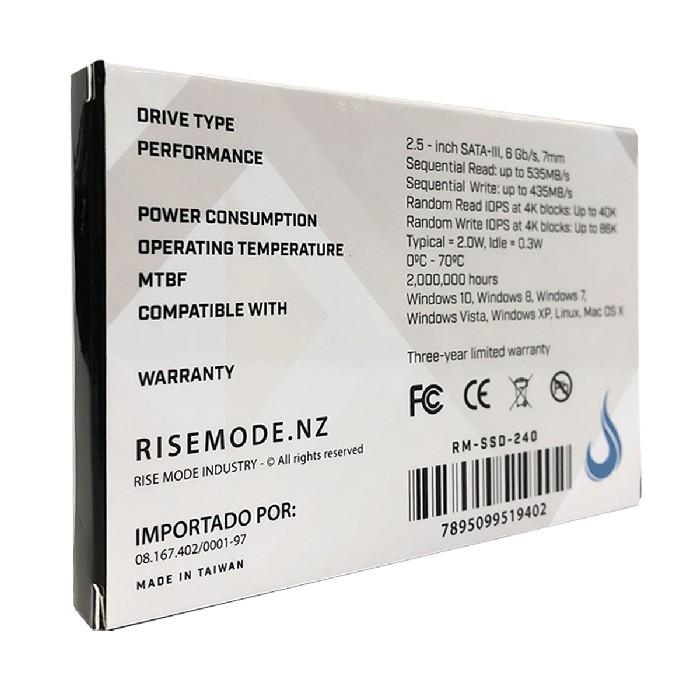 HD SSD Rise Mode Gamer Line 240GB, Leitura 535MB/s, Gravação 435MB/s - RM-SSD-240GB