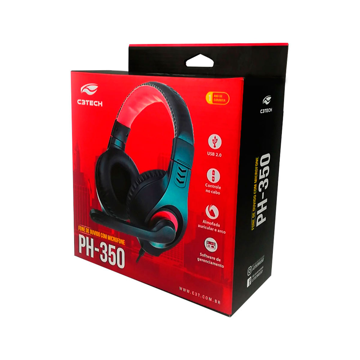 Headset C3Tech PH350BK, USB 2.0, Preto