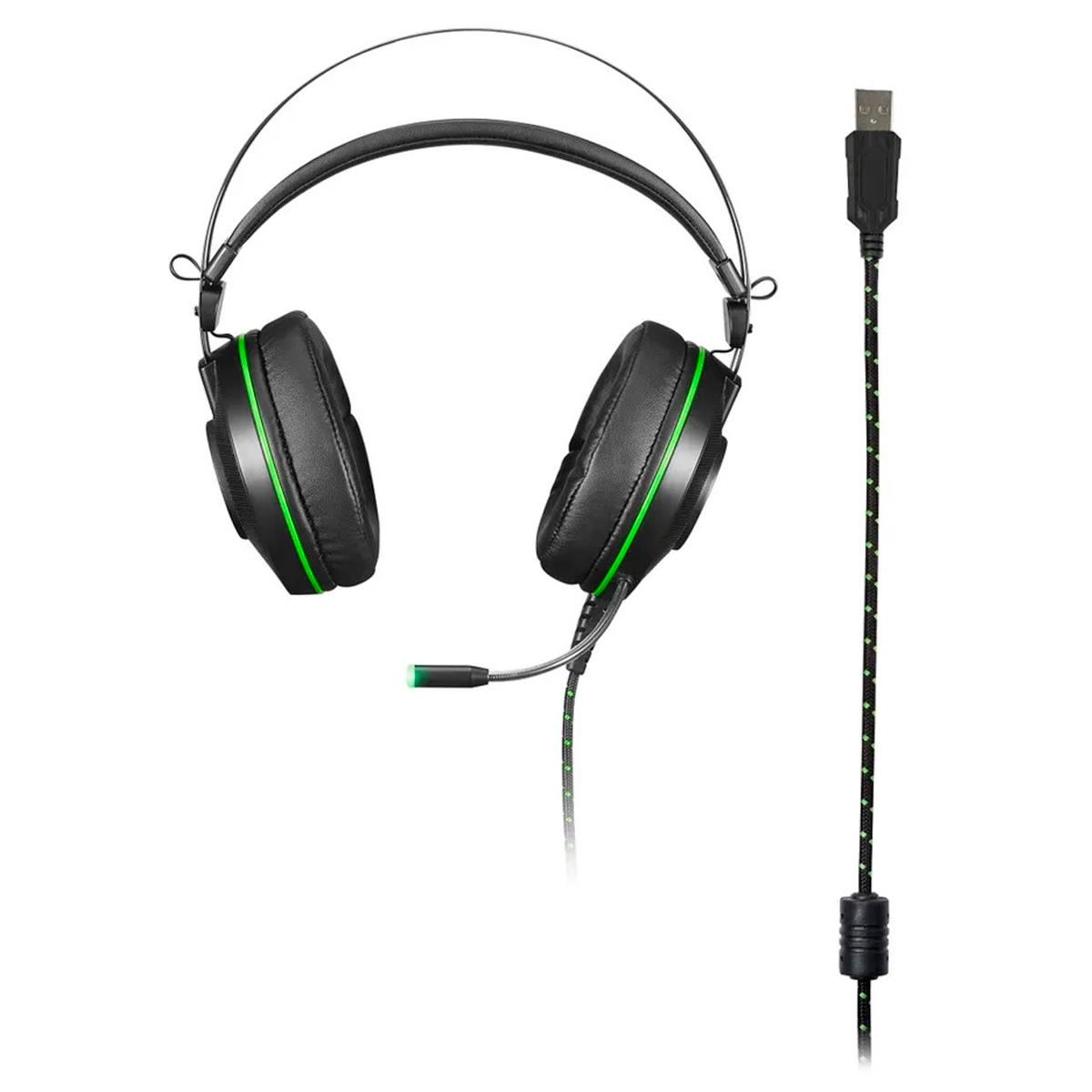 Headset Gamer Multilaser Warrior Raiko USB Drivers 50mm Som 3D Digital 7.1 Surround LED Verde  PH259