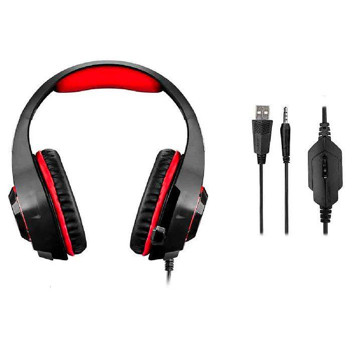 Headset Gamer Multilaser Warrior Rama P3 + USB Stereo Adaptador P2 LED Vermelho - PH219