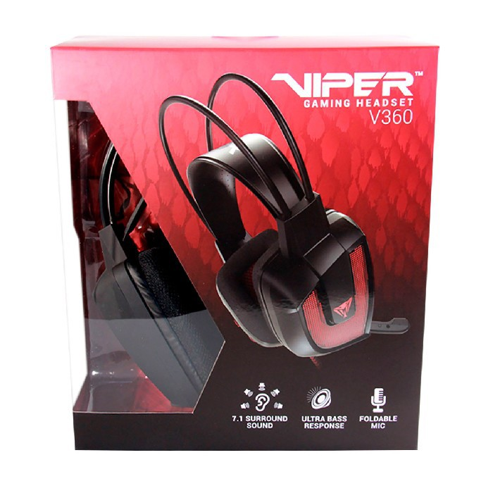 Headset Gamer Patriot Viper V360, USB, 7.1 Virtual Surround Sound, Ultra Bass -  LED Vermelho