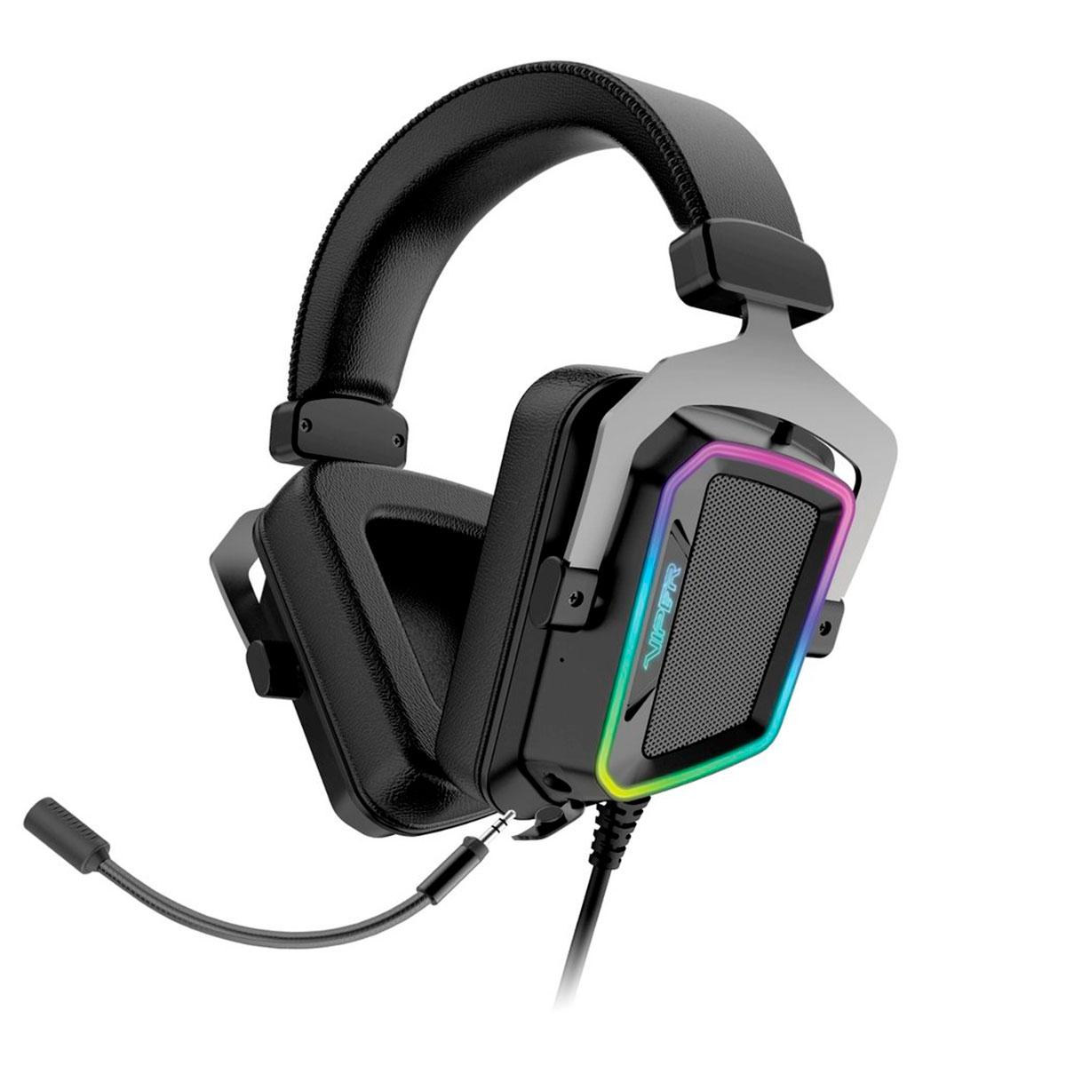 Headset Gamer Patriot Viper V380, USB, 7.1 Virtual Surround Sound, Cancelamento de ruidos, RGB