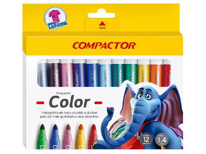 Hidrográfica Color 12 Cores, Pacote C/ 5 Caixinhas, Compactor