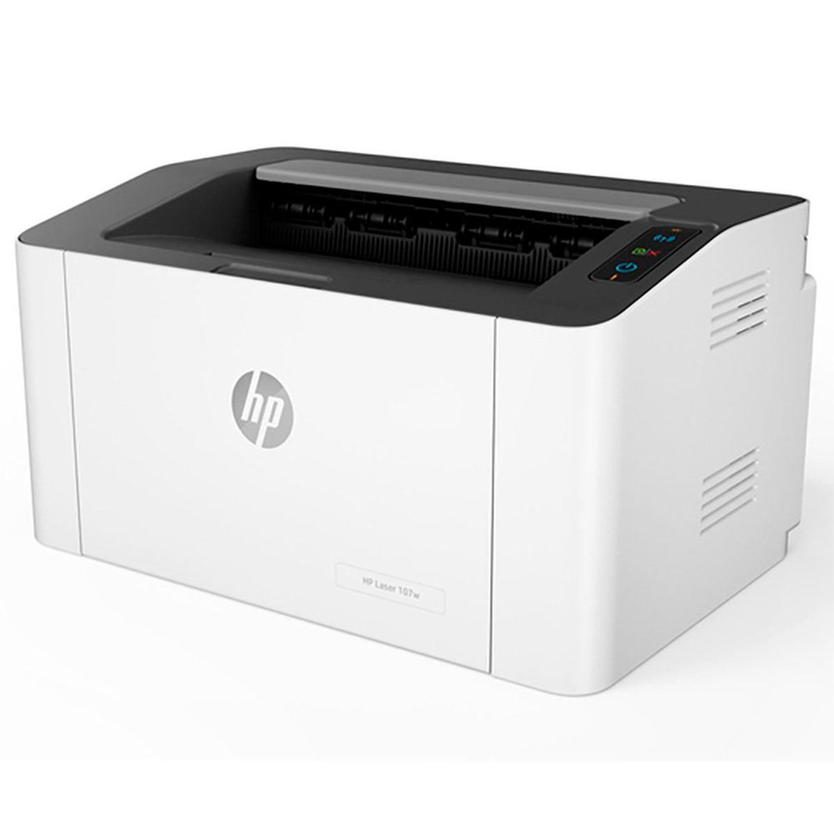Impressora HP 107W, Laser, Monovolt 110V, Monocromática, Wi-Fi, Porta USB 2.0 - 4ZB78A - 110V