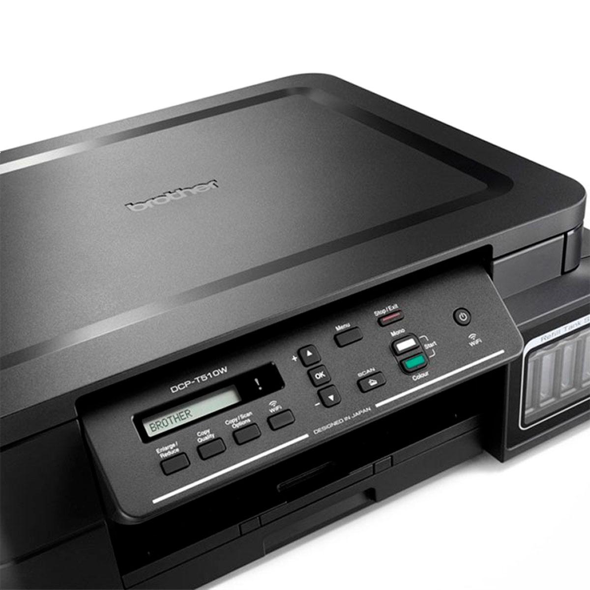 Impressora Multifuncional Brother DCP-T510W, Tanque de Tinta (Ink Tank), Colorida, Wi-Fi, USB 2.0