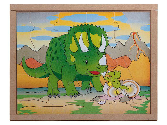 Jogo Quebra-Cabeça Animais e Filhotes, Dinossauro, Base Em M.D.F. Carlu - 3104