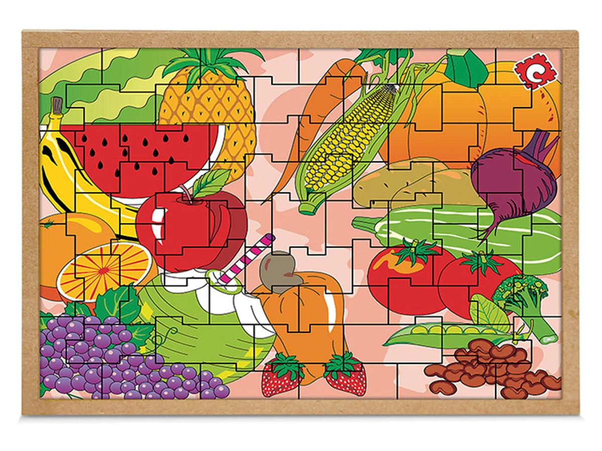 Jogo Quebra-Cabeça Frutas e Legumes, Base Em M.D.F. Carlu - 1300