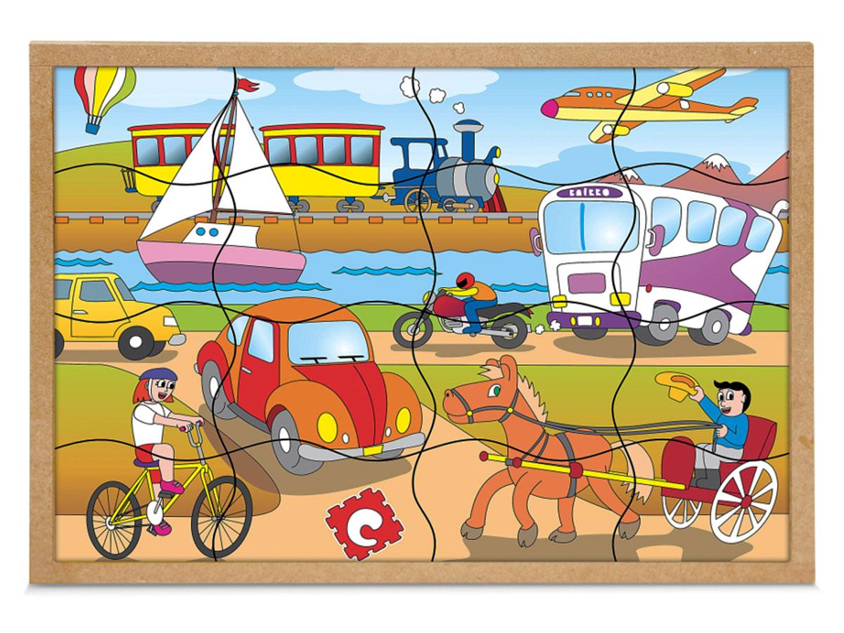 Jogo Quebra-cabeça Meios de Transportes, Base Em M.D.F. Carlu - 1193