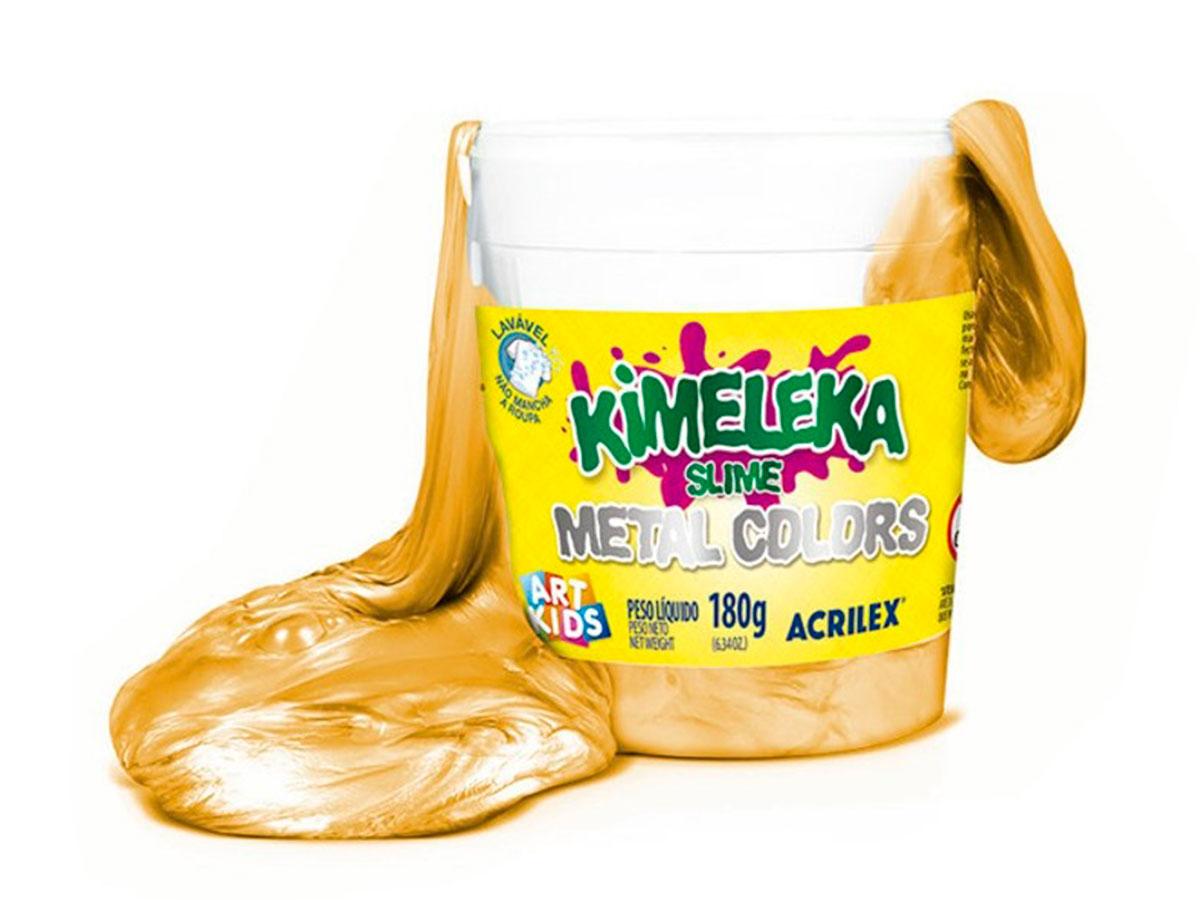 Kimeleka Metálica 180g, Caixa C/ 6 Unidades, Acrilex - Ouro