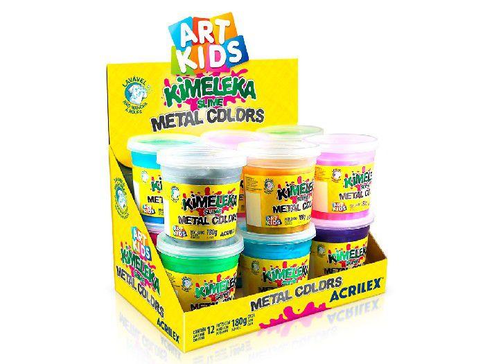 Kimeleka Slime Metal Colors, 180 g, Contém 12 Unidades, Acrilex