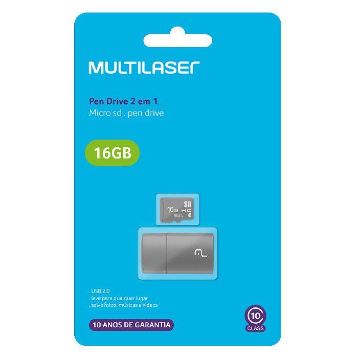 Kit 2 Em 1 Leitor USB + Cartão de Memória Multilaser MC162 16GB Classe 10 Preto