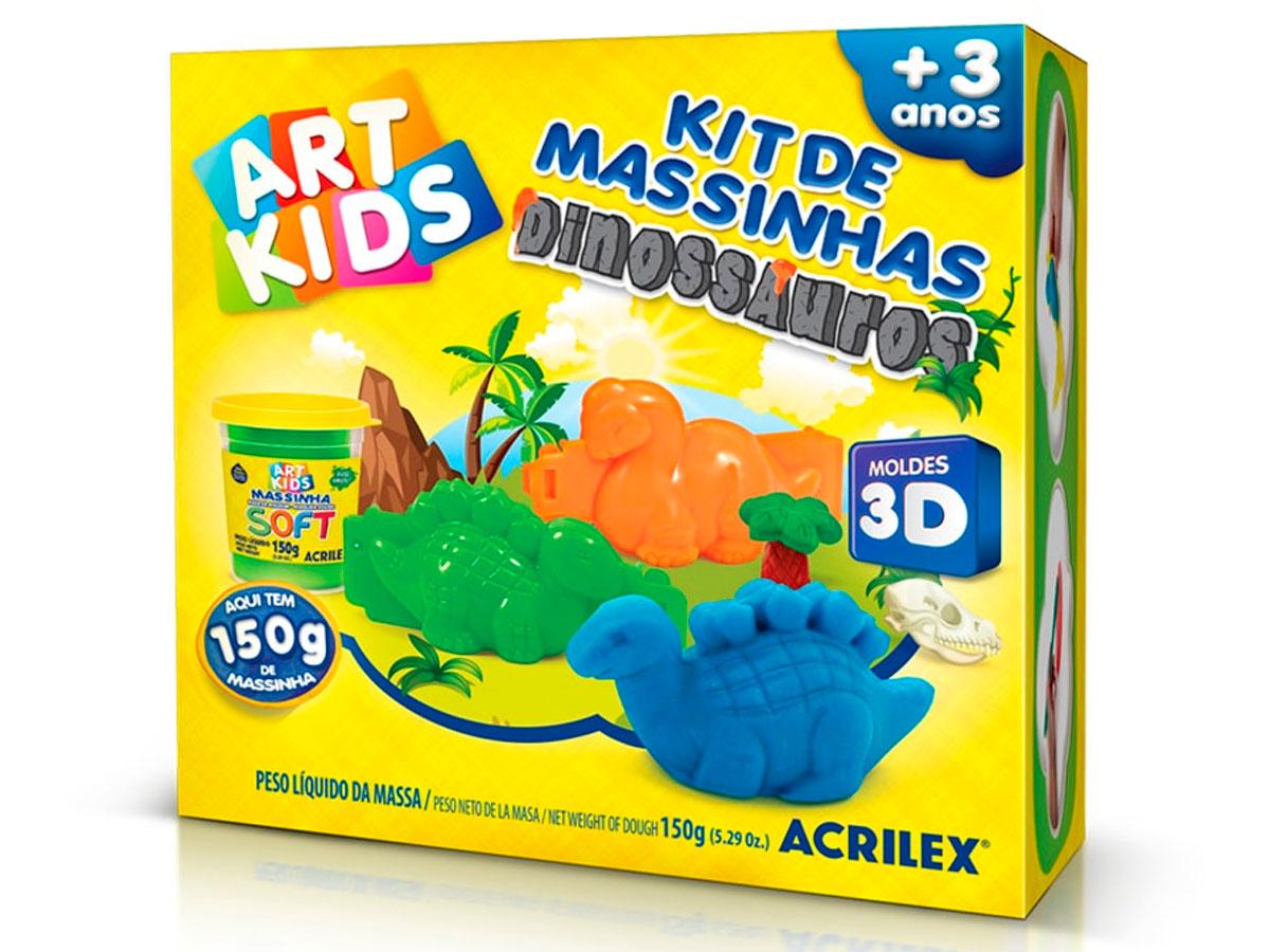 Kit de Massinhas Dinossauros 3D Cor Única - Acrilex