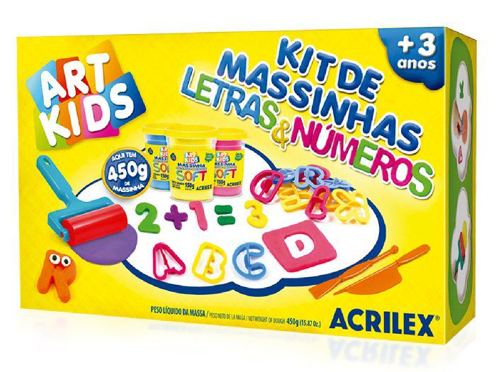 Kit de Massinhas Letras e Números 450g - Acrilex