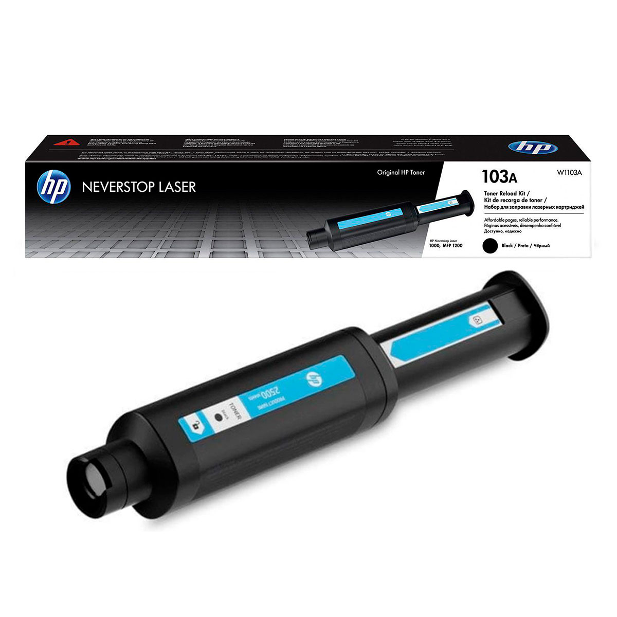 Kit de Recarga Toner HP 103A W1103A, P/ Impressora Neverstop (1000W/ MFP1200A), 2500 Páginas, Preto