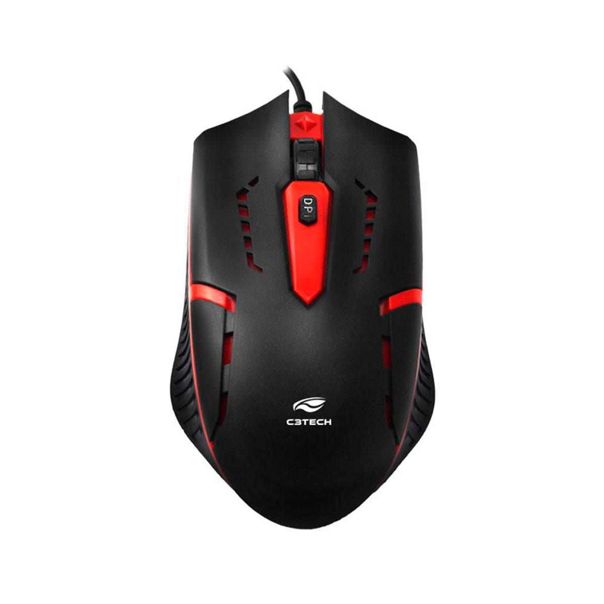 Kit Teclado e Mouse Gamer C3Tech GK-20BK, ABNT2, USB, 1200DPI