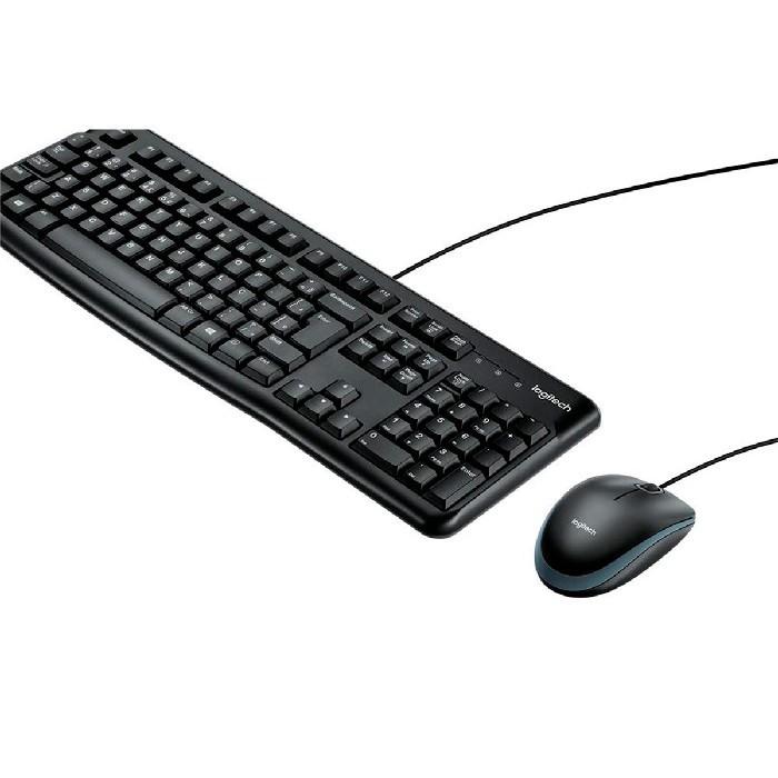 Kit Teclado e Mouse Logitech MK120 USB, 1000DPI, ABNT2, Preto