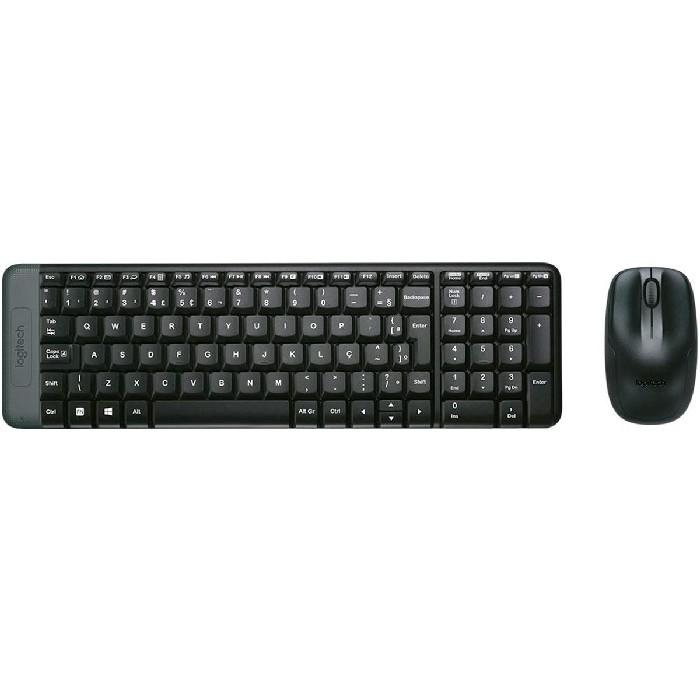 Kit Teclado e Mouse Logitech MK220 Wireless ABNT2 Preto