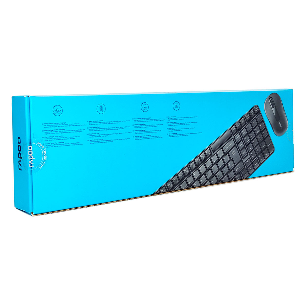 Kit Teclado e Mouse Rapoo X1800S, Wireless 2.4 GHz, ABNT2, 1000 DPI, Preto - RA001