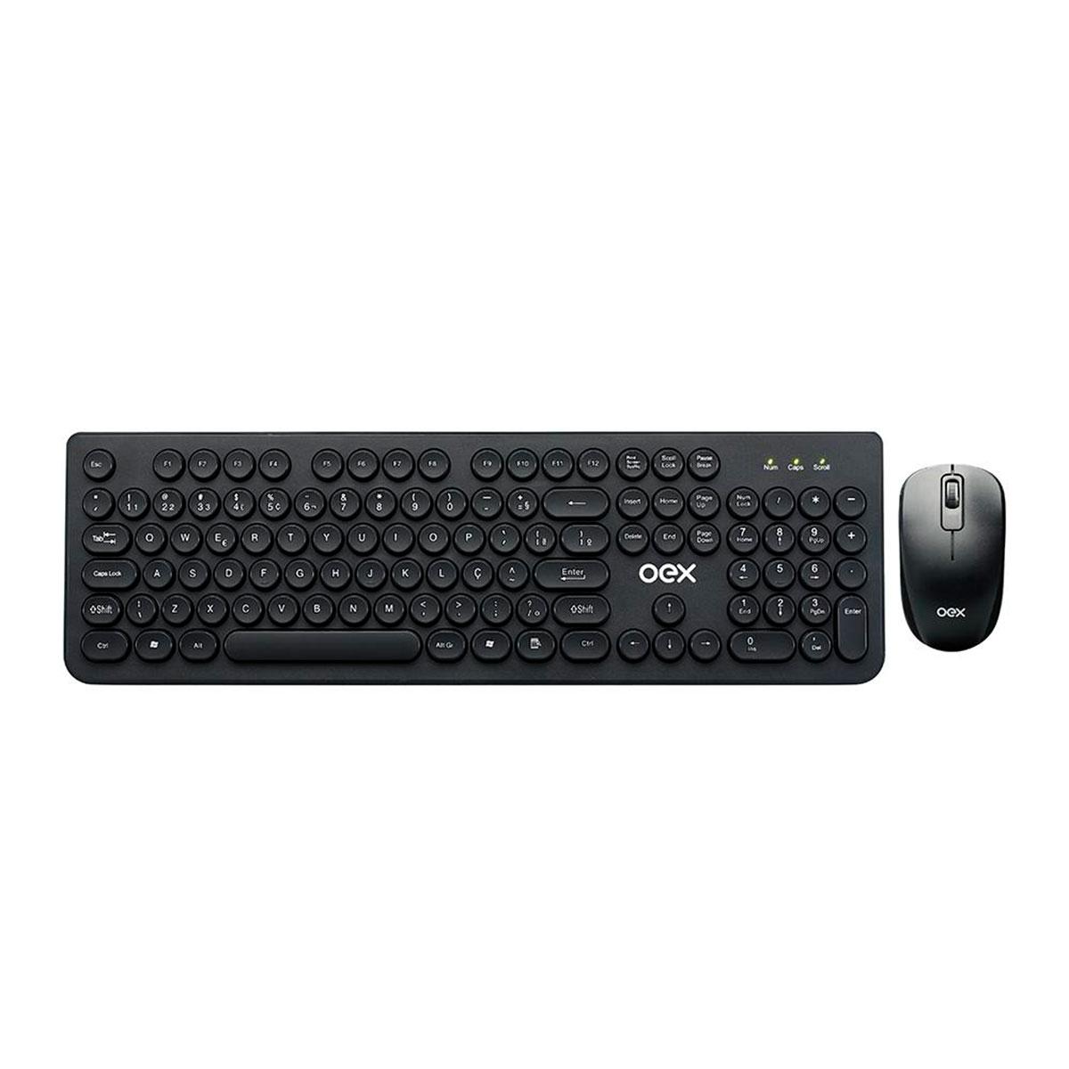 Kit Teclado e Mouse Wireless OEX POP+ TM410, Teclas Arredondadas, ABNT2, 1600 DPI, Preto