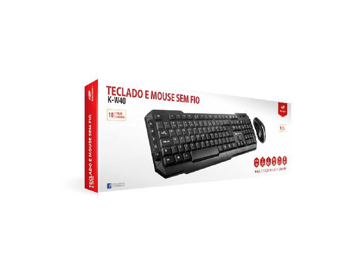 Kit Teclado+Mouse C3Tech Wireless K-W40BK