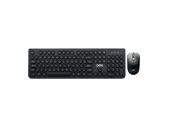 Kit Teclado+Mouse Wireless Pop Teclas Arredondadas Oex Preto TM410