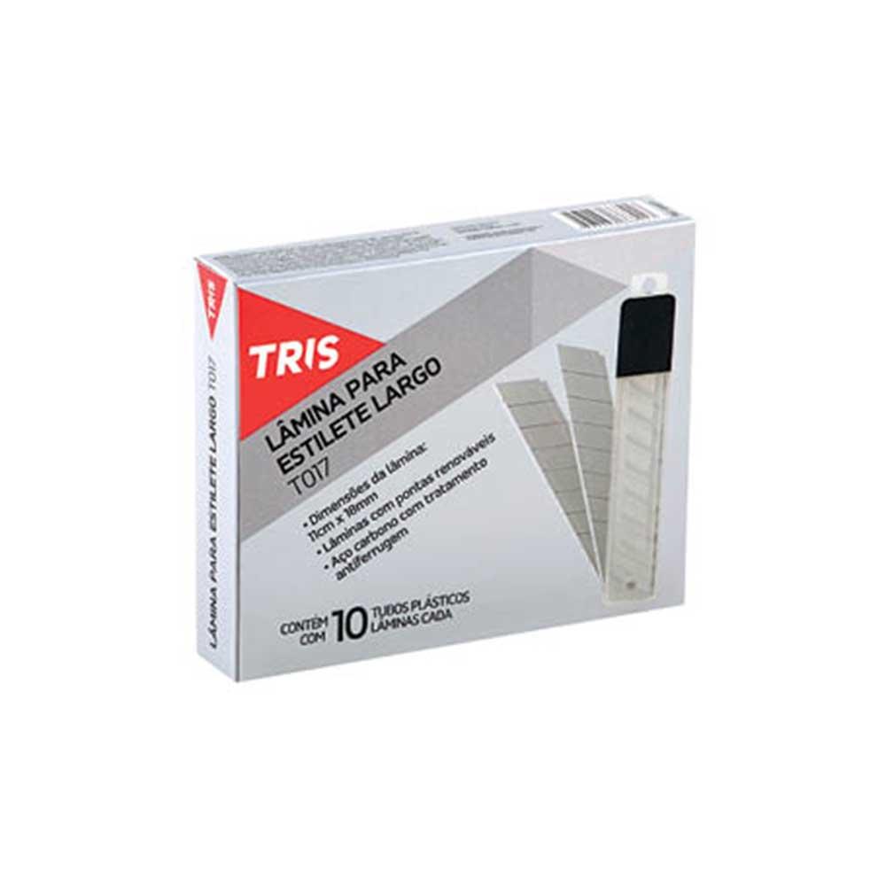 Lâmina Para Estilete Larga T017 Caixa Com 10 Tubos Tris - 668017