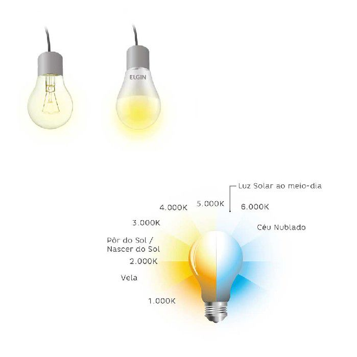 Lâmpada Bulbo LED A60 12W / Bivolt / 6500K / YU, Elgin - 48BLEDBF12YU