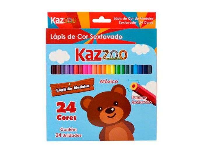 Lápis 24 Cores Sextavado Contém 06 Unidades Kaz - 760161