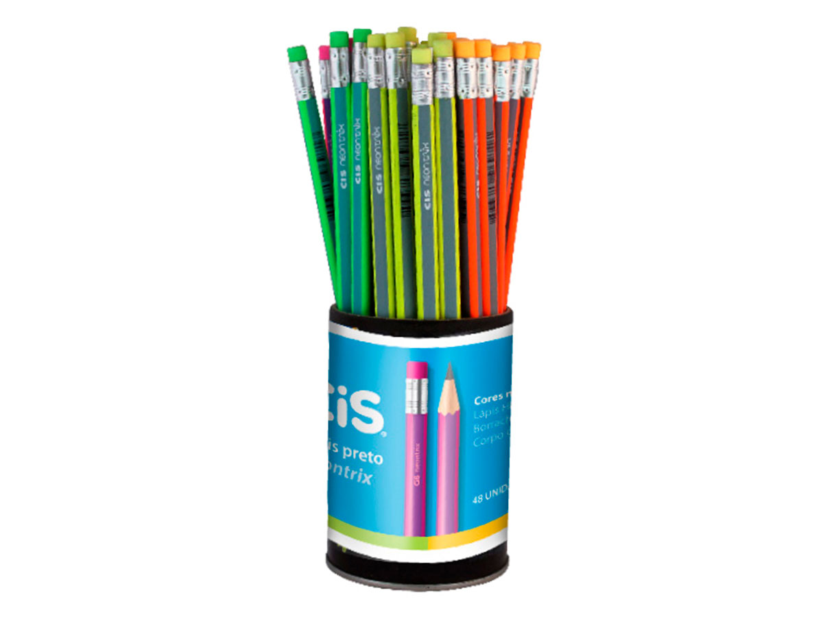 Lápis com Borracha Neontrix Cores Sortidas, Pote C/ 48 Unidades - Cis - 341303