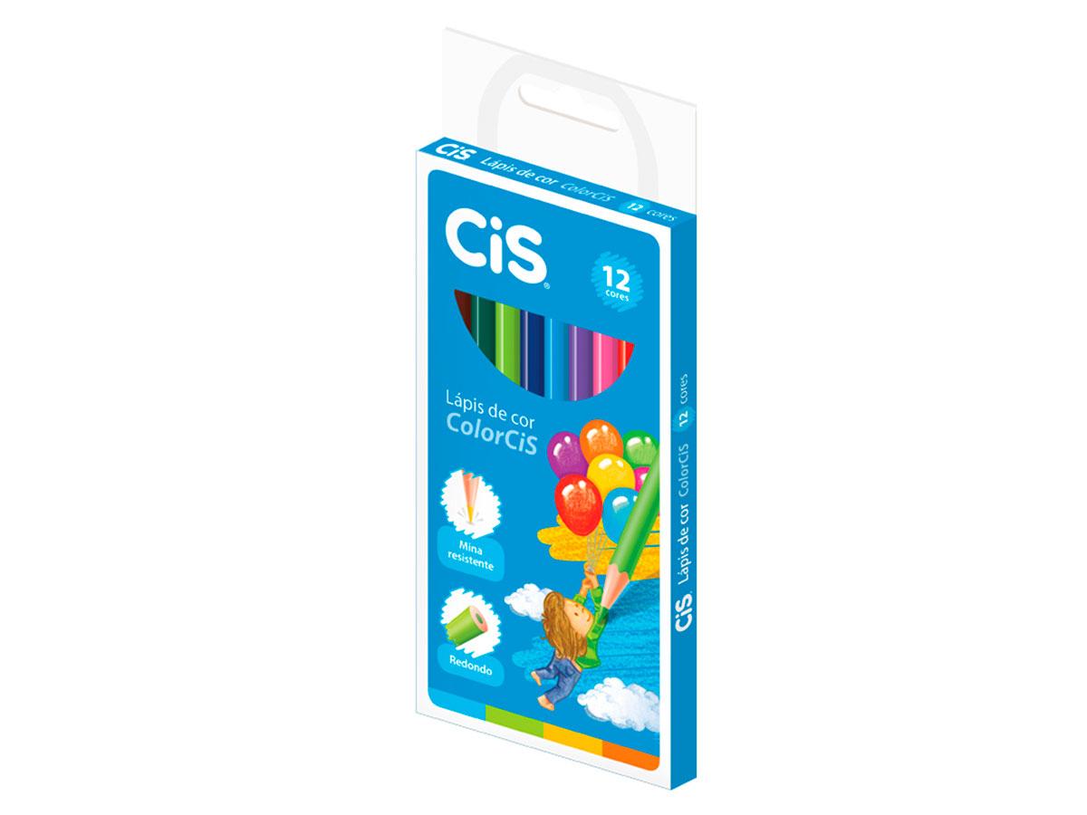Lápis de Cor 12 Cores, Colorcis, Cis, Pacote C/12 - 185000