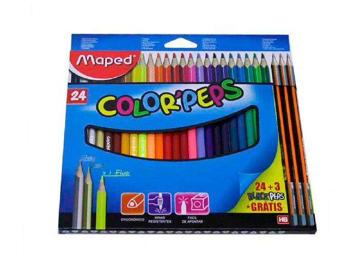 Lápis de Cor Color Peps 24 Cores + 3 Lápis Grafite HB - Maped - 983703
