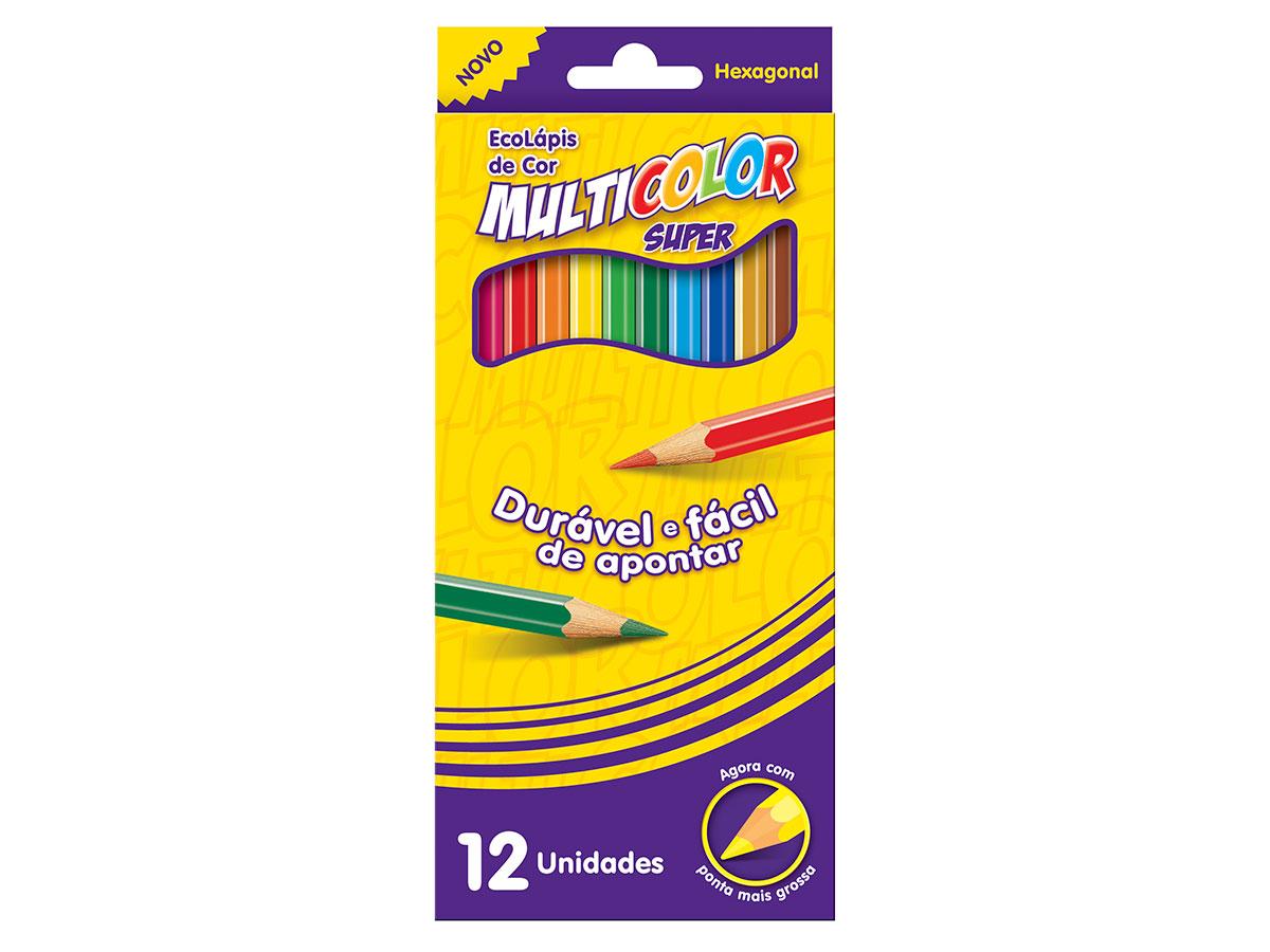 Lápis de Cor Com 12 Cores Multicolor, Pacote C/ 12 Unidades, Multicolor - 111200N