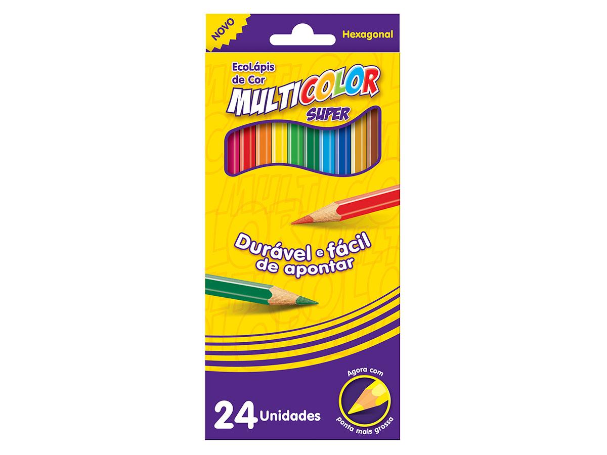 Lápis de Cor Com 24 Cores Multicolor, Pacote C/ 6 Unidades, Multicolor - 112400N