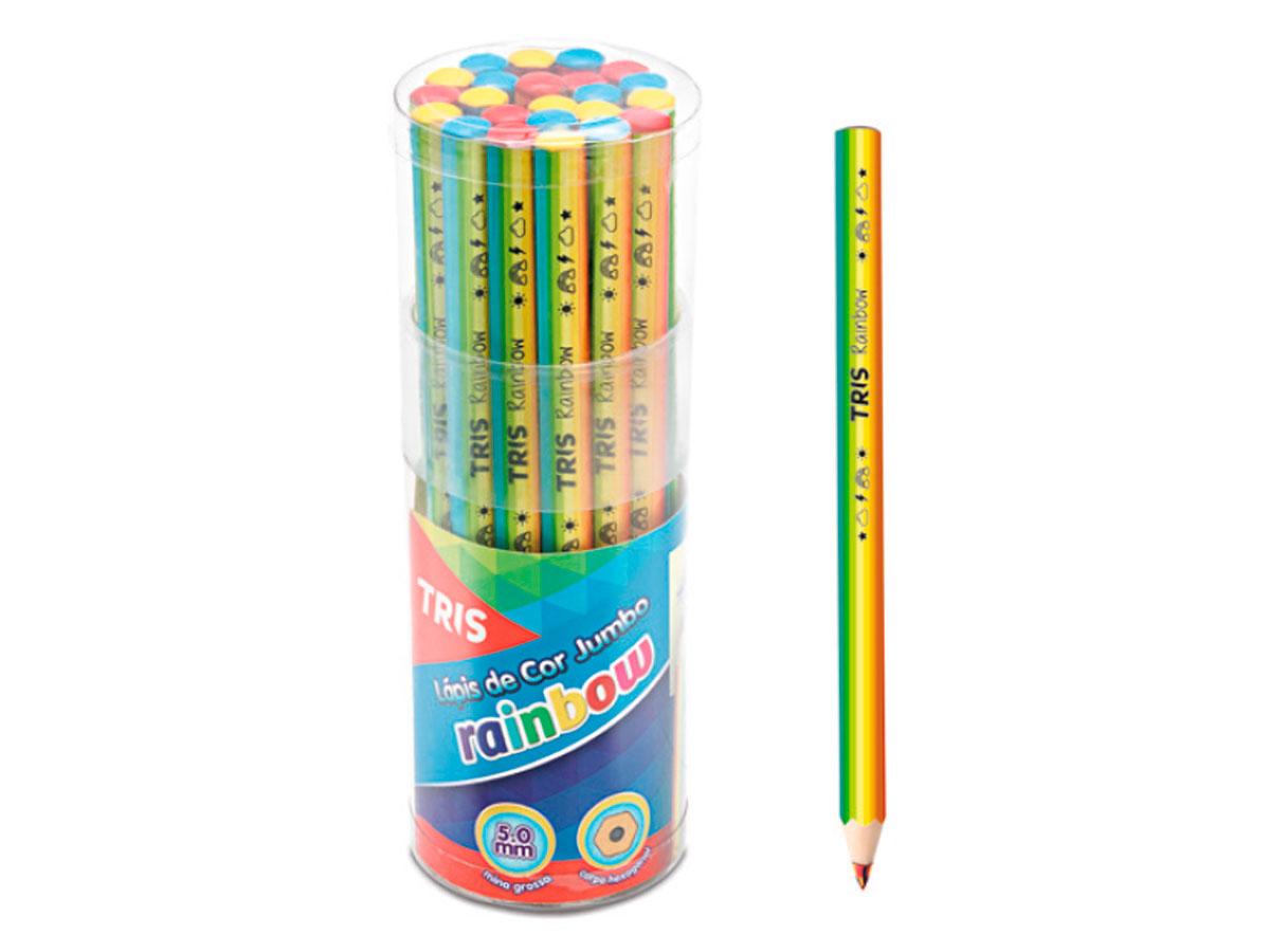 Lápis de Cor Jumbo Rainbow, Pote C/ 24 Unidades - Tris - 687711