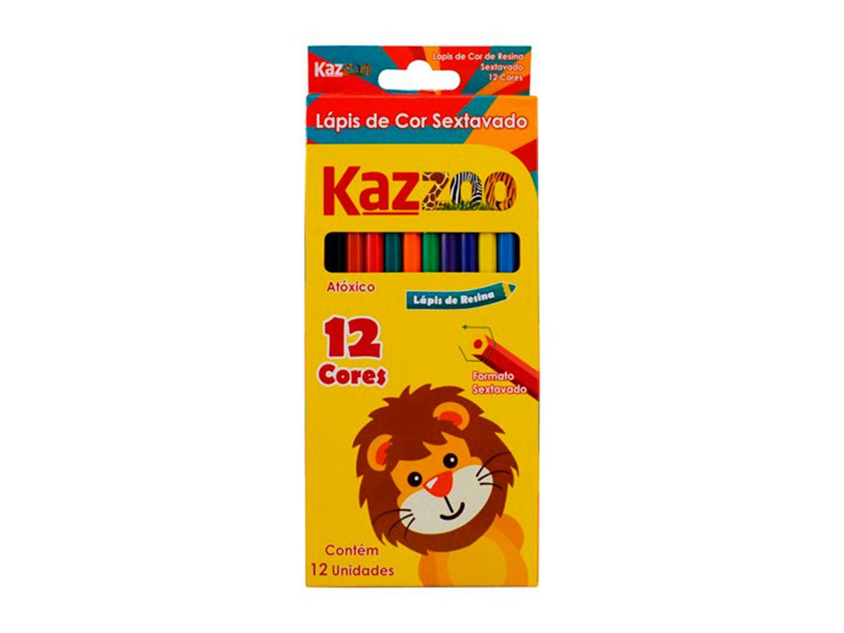 Lápis de Cor Sextavado 12 Cores Caixa Com 06 Unidades Kaz - 708842