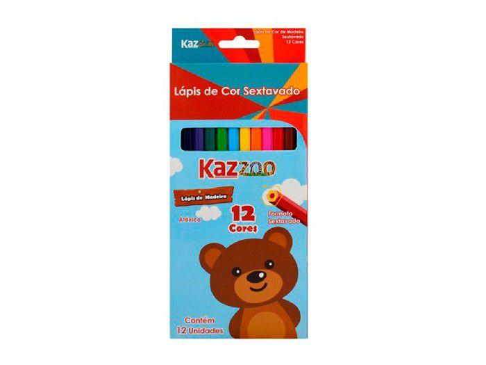 Lapis de Cor Sextavado 12 Cores Kaz - 760062