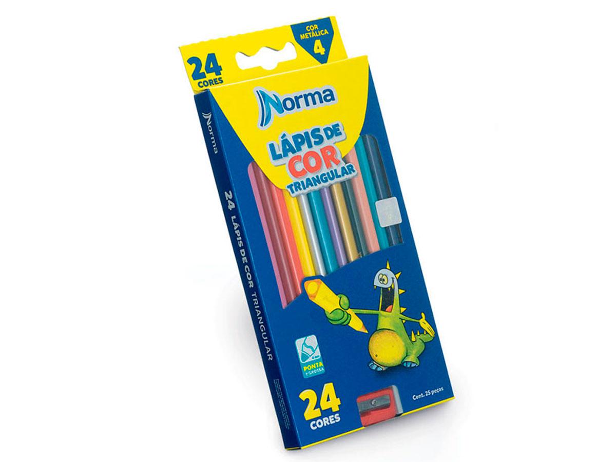 Lápis de Cor Triangular, 24 Cores, Norma - 10310003