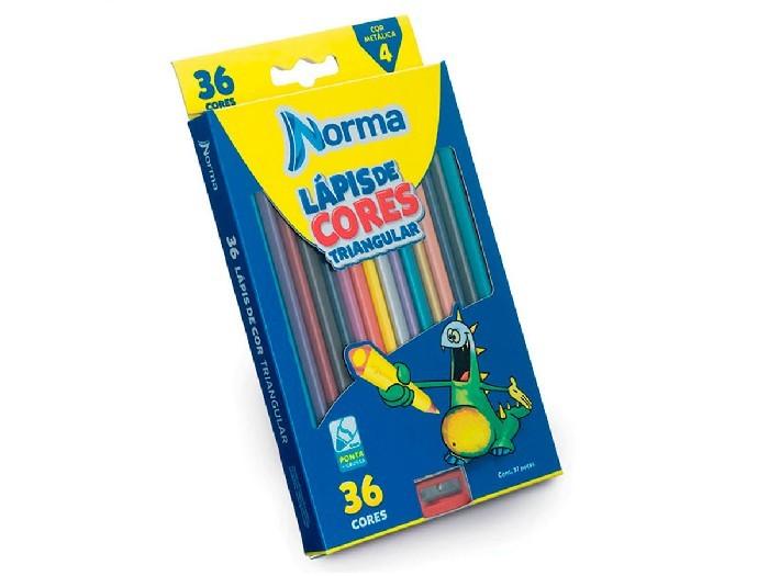 Lápis de Cor Triangular, 36 Cores, Norma - 10310004