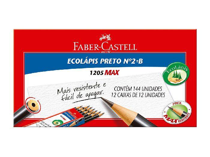 Lápis N.2 Max Preto Redondo, Caixa C/ 144 Unidades, Faber Castell - 1205M/144