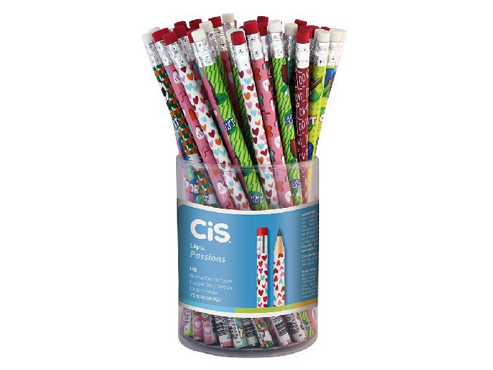 Lápis Passions c/ Borracha, Pote c/ 72 Unidades - Cis - 348400